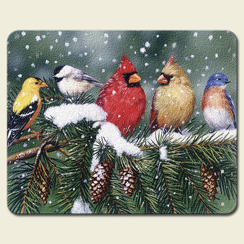 Backyard Birds Cardinals Finches Glass 10 Inch Cutting Board