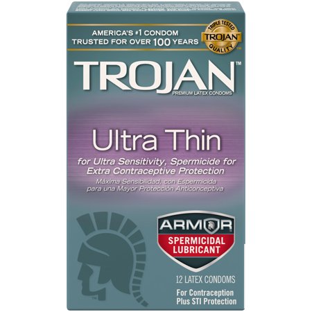 Trojan Condom Sensitivity Ultra Thin Spermicidal, 12