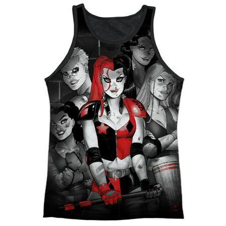 Batman Comic Book Harley Quinn And The Bad Girls Adult Black Back Tank Top Shirt