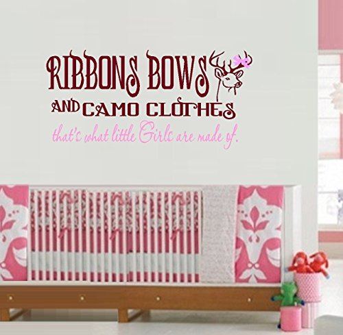 """Decal ~ Ribbons Bows and Camo Clothes, Brown and Pink ~ Children Wall Decal 13"""" x 28"""""""