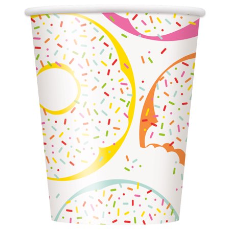 Donut Party Paper Cups, 9 oz, 8ct - Party Paper Outlet