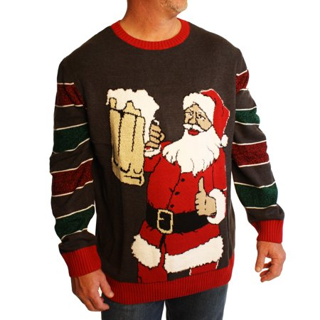 Ugly Christmas Sweater Men's Big And Tall Party Santa Claus Beer Xmas Sweatshirt