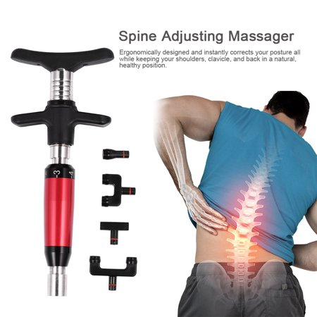 HURRISE Therapy Massager Tool Spine Adjusting Massager with Four Repaceable Massage Heads , Chiropractic Tool, Spine Adjuster ()
