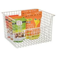 InterDesign Classico Open Wire Large Storage Basket, Matte Satin