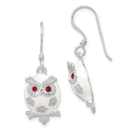 Sterling Silver Rhodium Plated Enamel Red Cz Owl Dangle Earrings