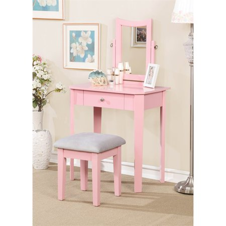 the best attitude 0cc91 62bc2 Furniture of America Adul Contemporary Vanity Set in Pink