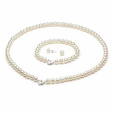 ADDURN 6-7mm White Freshwater Pearl Heart-Shape Sterling Silver Necklace (18