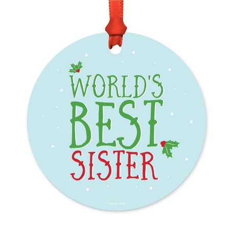 Metal Christmas Ornament, World's Best Sister, Holiday Mistletoe, Includes Ribbon and Gift