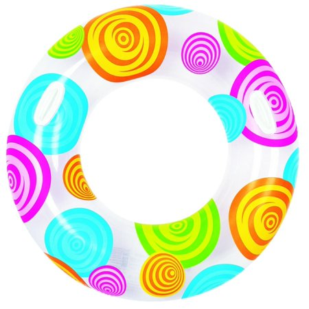 """Pool Central 35"""" Circles and Swirls Inflatable 1-Person Swimming Pool Inner Tube Ring Float - White"""
