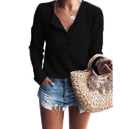Womens Long Sleeve V Neck Knitted Sweater Ladies Pullover Jumper Tops