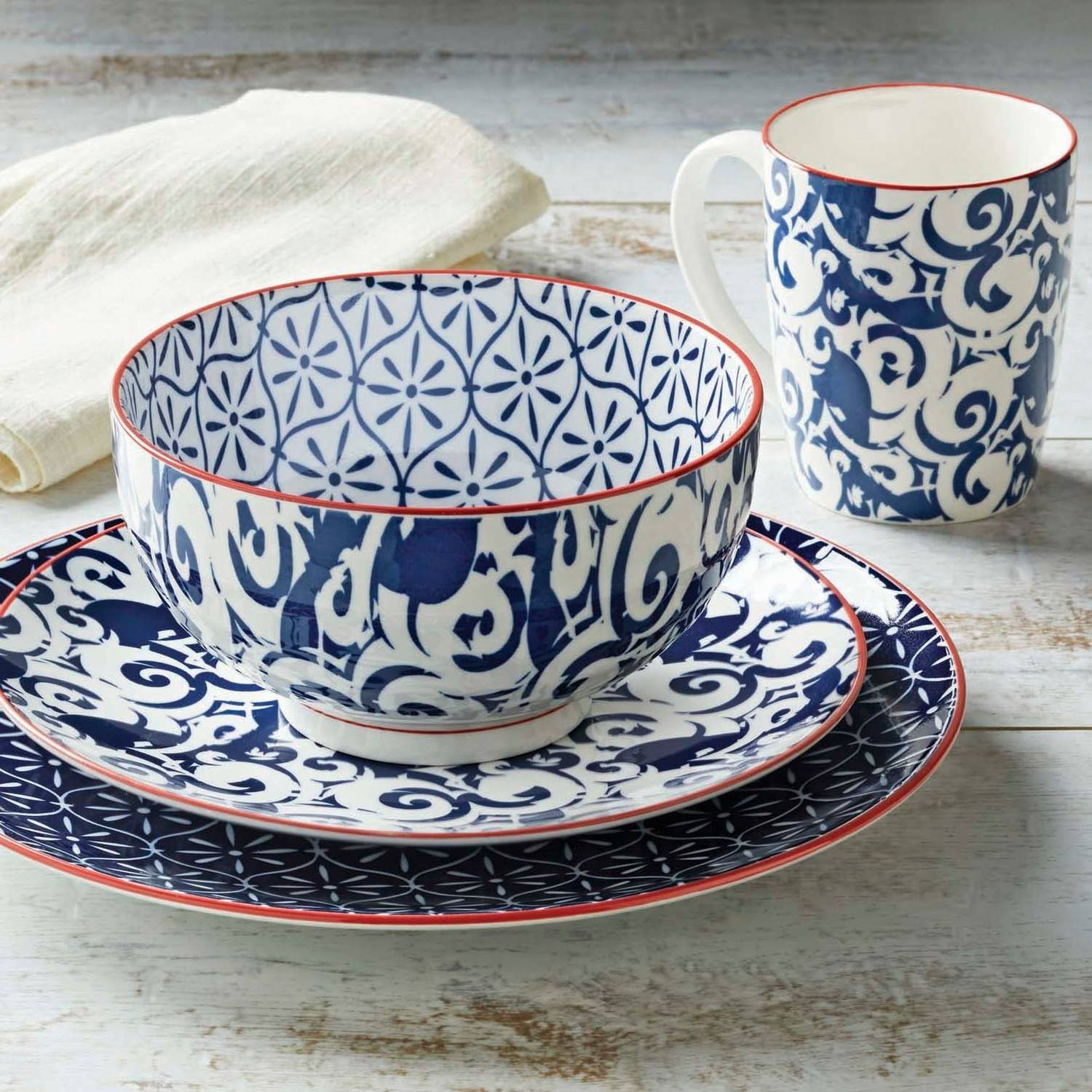 Better Homes and Gardens Piers Blue Mix and Match 16 Piece Dinnerware Set & Better Homes and Gardens Piers Blue Mix and Match 16 Piece ...
