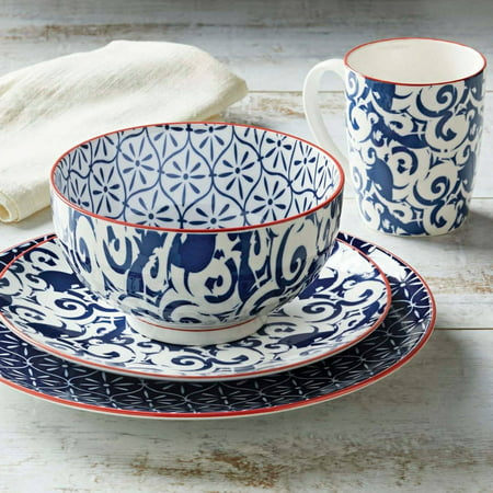 Better Homes And Gardens Piers Blue Mix And Match 16 Piece Dinnerware Set
