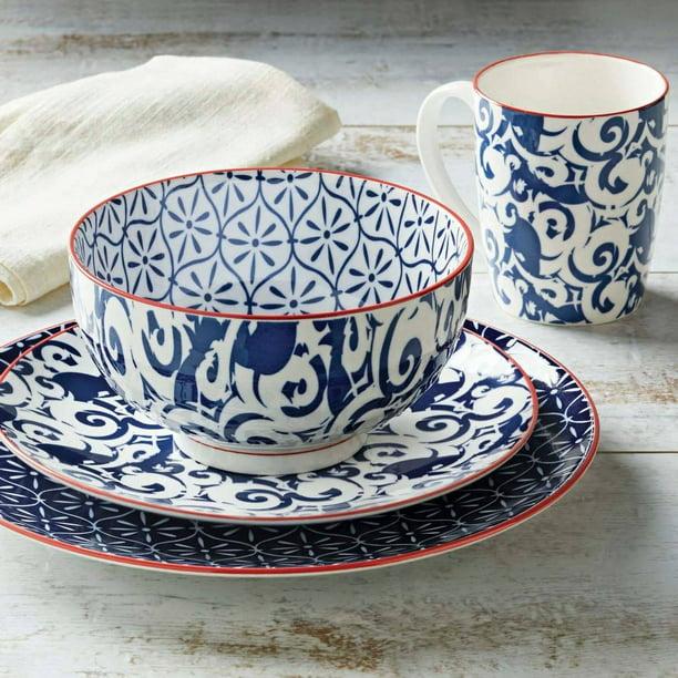 Better Homes Gardens Piers Blue Mix Match Dinnerware Set 16