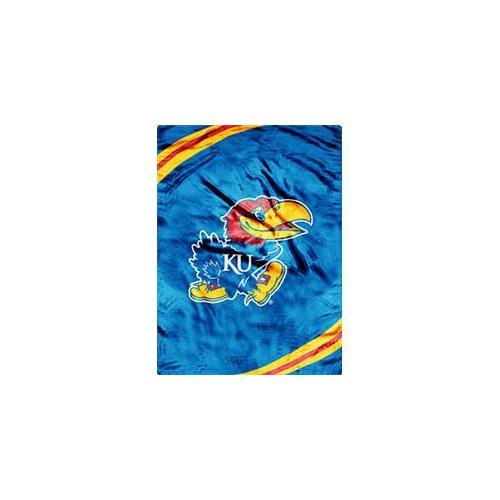 Caseys Distributing 8791889976 Kansas Jayhawks 60 inch x 80 inch Royal Plush Raschel Throw Blanket