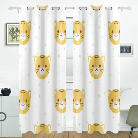 POPCreation Flat Cartoon Tiger Heads Pattern Window Curtain Blackout Curtains Darkening Thermal Blind Curtain for Bedroom Living Room,2 Panel (52Wx84L (Dual Head Flat Panel)