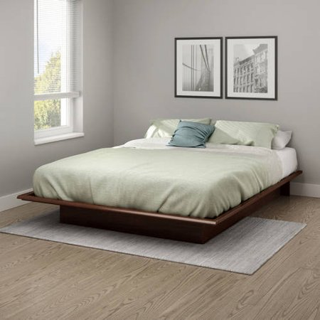 South Shore Basics Queen Platform Bed with Molding, 60'', Multiple Finishes Cappuccino Finish Queen Bed