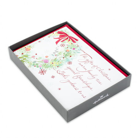 Hallmark Religious Christmas Boxed Cards, Wreath (16 Cards and 17 Envelopes)