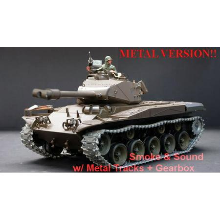 2.4Ghz Radio Remote Control 1/16 US M41A3 Walker Bulldog Airsoft Battle Tank w/Sound & Smoke (Upgrade Version w/ Metal Gear & Tracks) RC