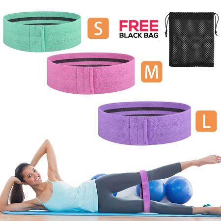 Resistance 3 Pack Loop Exercise Bands, Cloth Booty Training Band, Heavy/Non-Slip/Thick Fitness Exercise Circle Belt for Legs and Butt/Squat/Glute/Hip/Thigh Workout in 3
