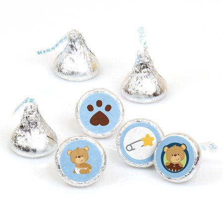 Baby Boy Teddy Bear - 108 Round Candy Labels Baby Shower Favors - Fits Hershey's Kisses - Care Bear Baby Shower