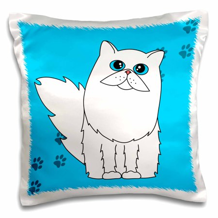 3dRose White Long-haired Persian Cat Blue Eyes Paw-print - Pillow Case, 16 by 16-inch Blue Eyed White Cats