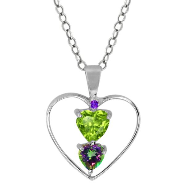 0.89 Ct Heart Shape Green Peridot Green Mystic Topaz Sterling Silver Pendant