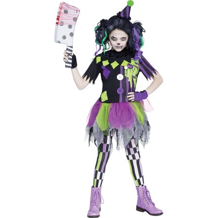 Zombie Clown Girls Child Evil Circus Jester Halloween Costume