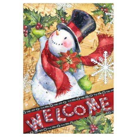 Toland Home Garden Candy Cane Snowman Flag