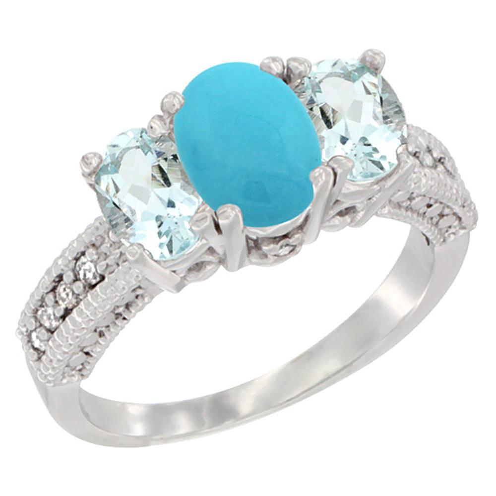 10K White Gold Diamond Natural Turquoise Ring Oval 3-stone with Aquamarine, sizes 5 10 by WorldJewels