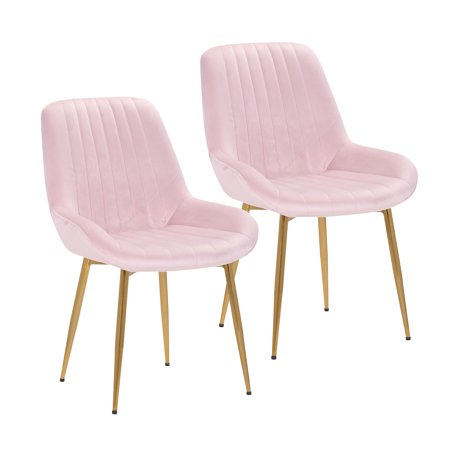Porthos Home Dayo Set Of 2 Velvet Dining Chairs With Low Back, Shallow Scoop Seat And Golden Chrome Legs (Armless Design Is Suitable For Small Kitchens And Dining Areas)
