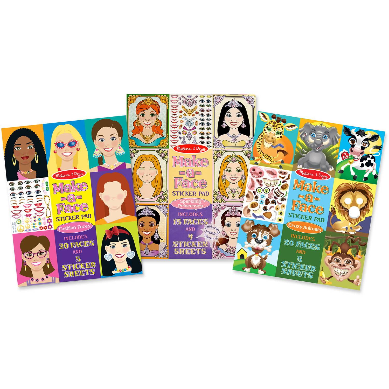 Melissa and Doug Make-a-Face Sticker Pads Set, Fashion Faces, Sparkling Princesses, Crazy Animals