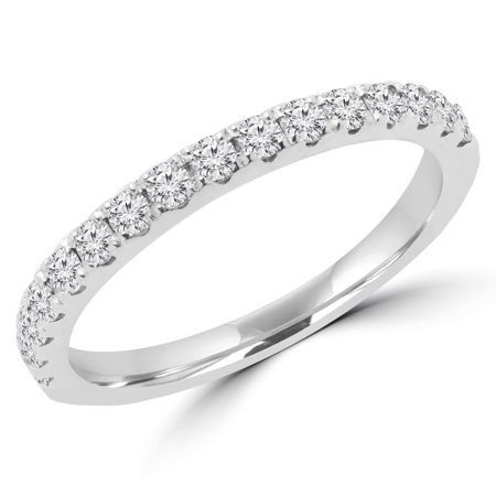 3/8 CTW Round Diamond Semi-Eternity Wedding Band Ring in 14K White Gold (MD180189) - image 2 of 2