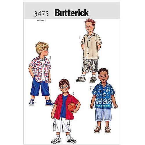 Butterick Pattern Boy's Shirt and Shorts, (2, 3, 4, 5)