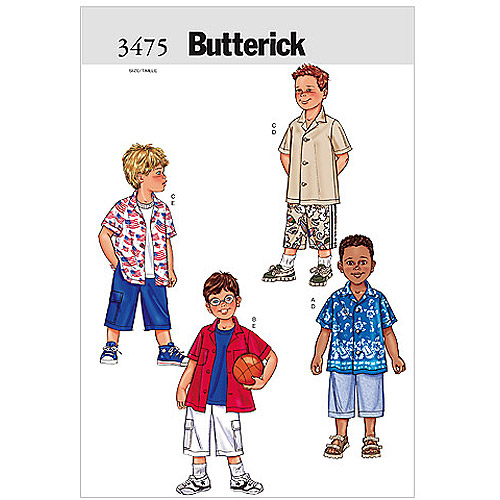 Butterick Pattern Boy's Shirt and Shorts, (2, 3, 4, 5)