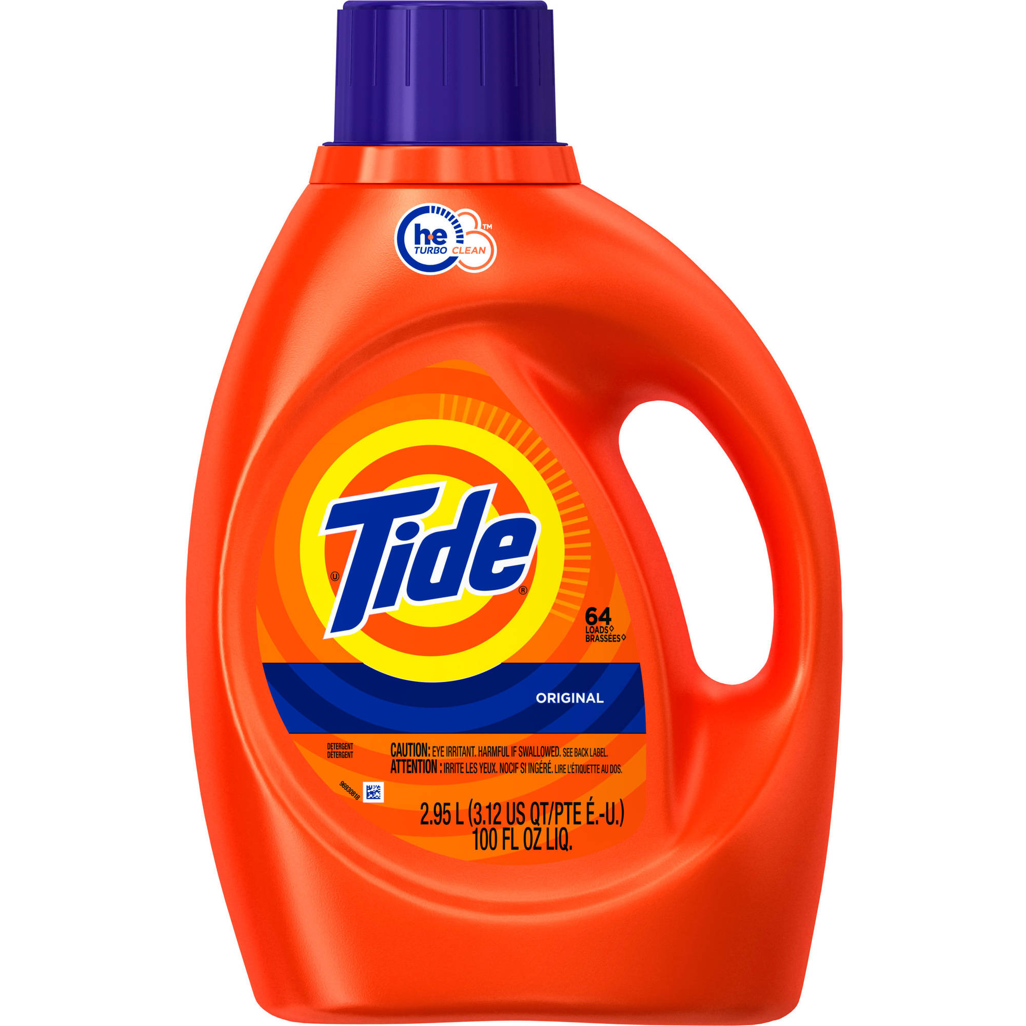 Tide HE Turbo Clean Original Scent Liquid Laundry Detergent, 64 Loads 100 oz
