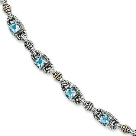 14k Semi Precious Bracelet (925 Sterling Silver 14kt Sky Blue Topaz Bracelet 7.25 Inch Gemstone Fine Jewelry Ideal Gifts For Women Gift Set From Heart )