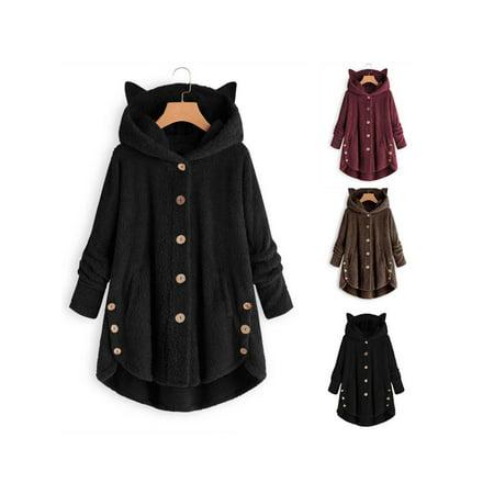 Women Casual Plush Asymmetrical Design Hooded Cute Coat - image 3 of 7