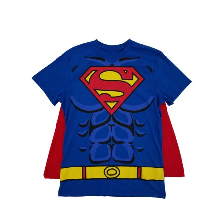 Superman DC Comics Mens Royal Blue Caped Tee Muscle Graphic Costume T-Shirt - Muscle Man
