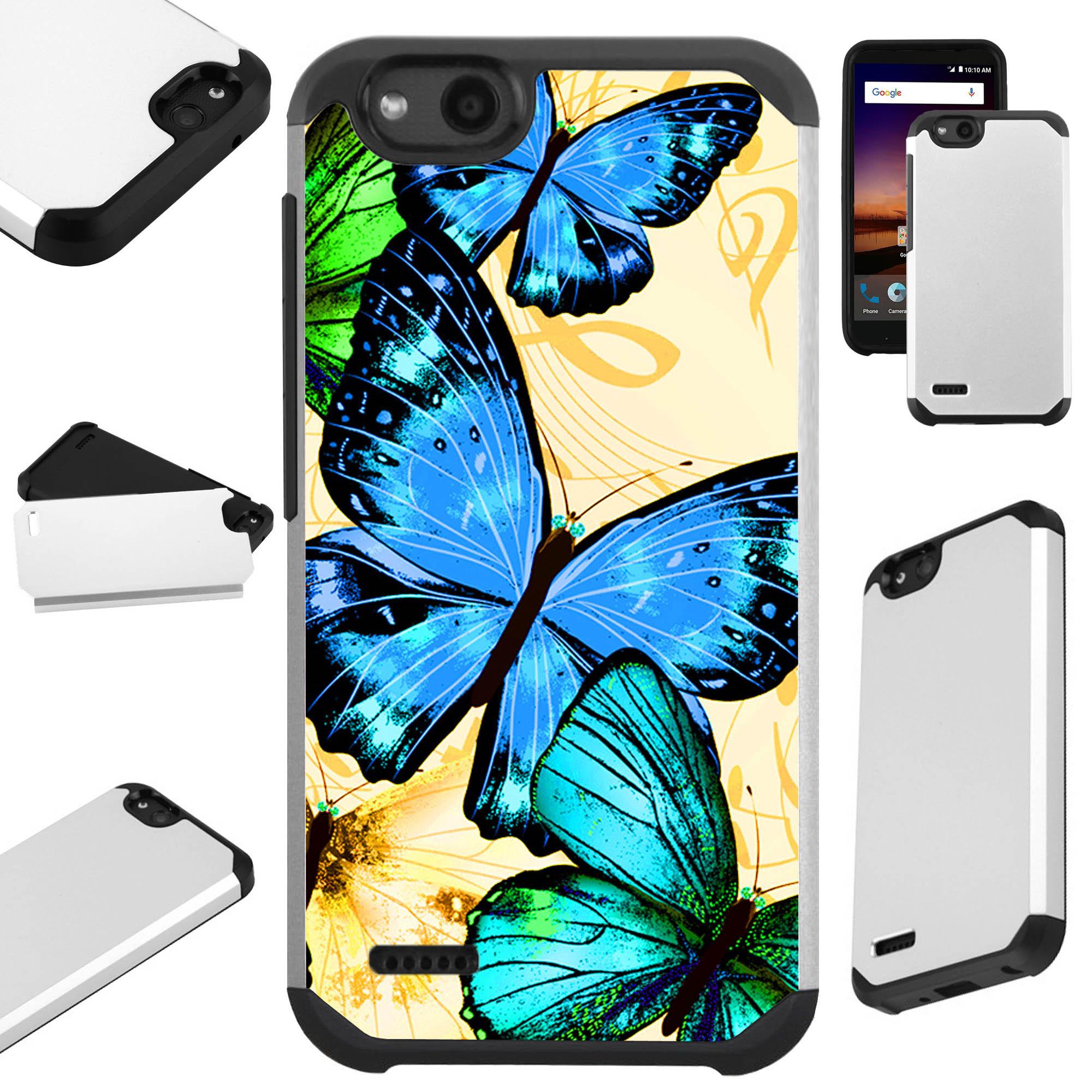 For ZTE ZFive G LTE / ZFive C / Avid 4 / Fanfare 3 / Blade Vantage / Tempo X / Tempo Go Case Hybrid TPU Fusion Phone Cover (Blue Butterfly)