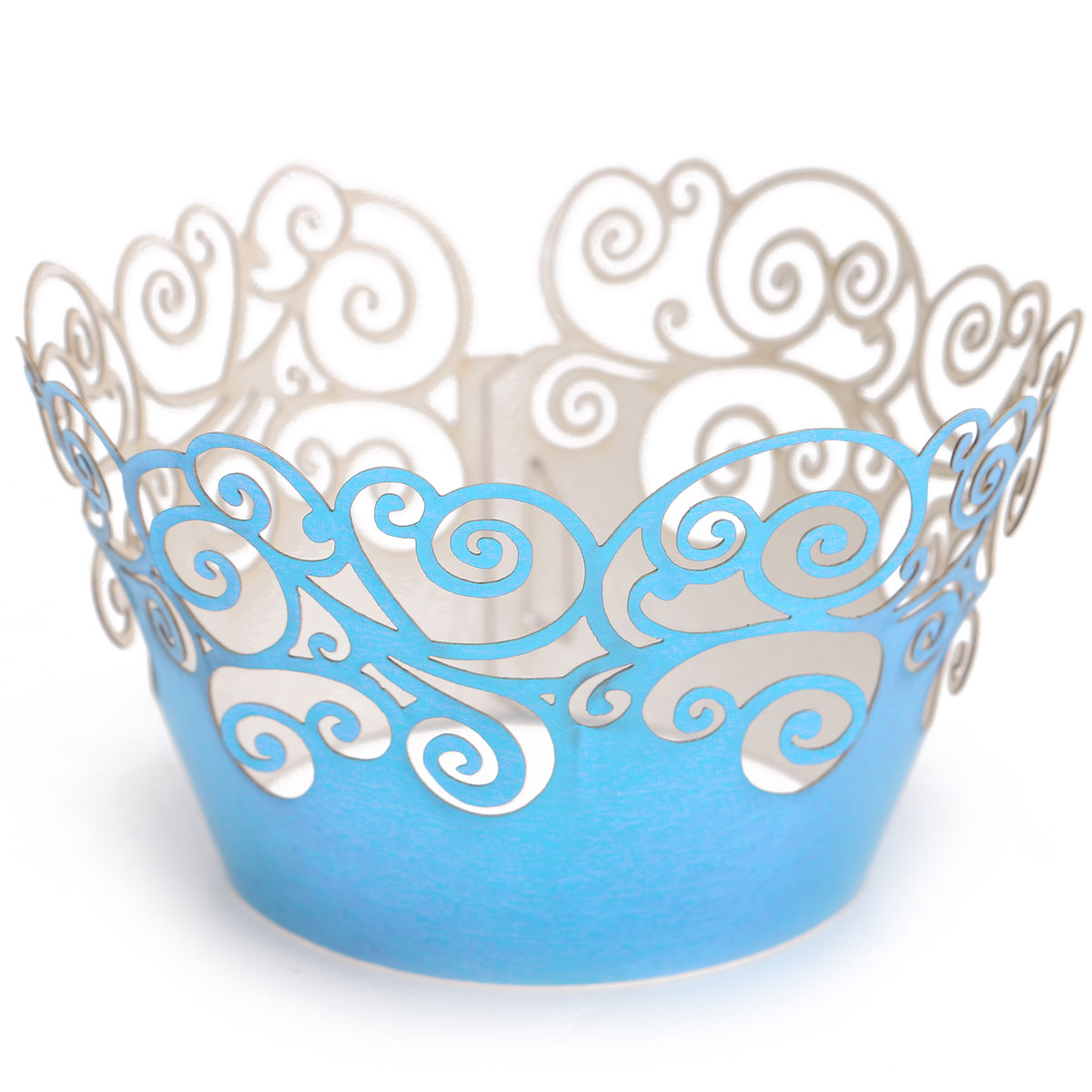 12pcs Pearly Cloud Filigree Vine Cupcake Wrappers Wrap Case Wedding Party Decor