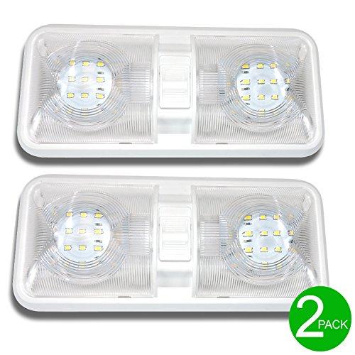RV//Camper//Trailer-Double Interior Light w// Switch 12V LED bulb upgrade WHITE
