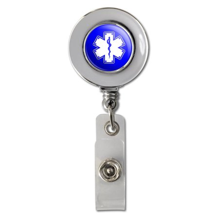 Star Of Life Medical Health EMT RN MD Retractable Reel Chrome Badge ID Card Holder Clip