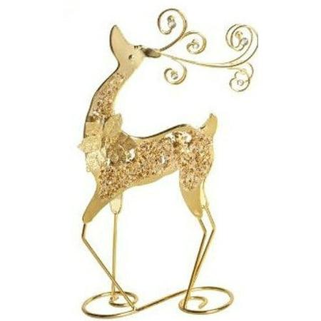 Nantucket Home Shiny Scroll Standing Tabletop Christmas Reindeer, 14.5-Inch