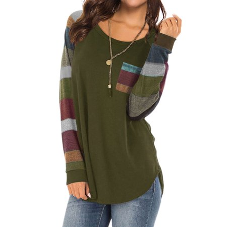 711ONLINESTORE Women Round Neck Long Sleeves Color Block Loose Fit Tunic Shirt