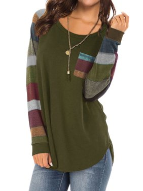 Women Round Neck Long Sleeves Color Block Tunic Shirt
