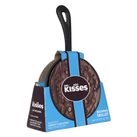 """5"""" Mini Cast Iron Skillet with Chocolate Brownie Mix and Hersheys Kisses"""