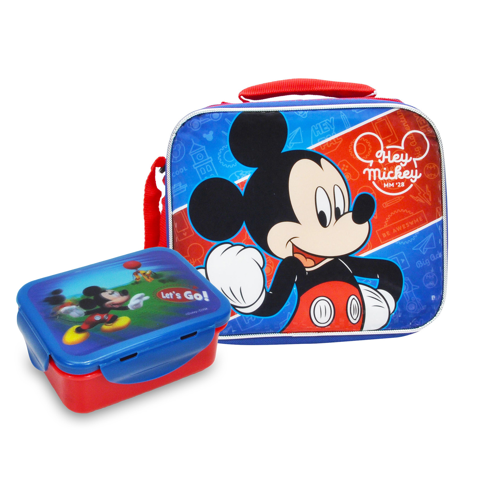 Boys Mickey Mouse Insulated Lunch Bag and Food Container 2Pcs