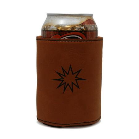 Pow Sign Leather Can Sleeve, Beer Sleeve, Beer Cooler, Beer Hugger