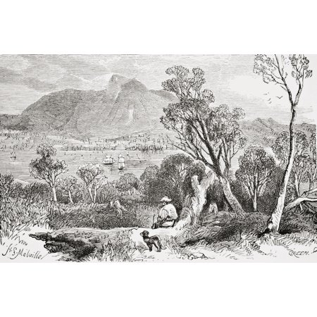 Hobart Tasmania From The Gallery Of Geography Published London Circa 1872 Canvas Art - Ken Welsh Design Pics (18 x 12)