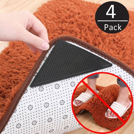 4-Pack Rug Grippers Stopper Anti Slip Rubber Corner Mat Washable Carpets Pad
